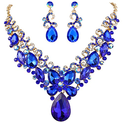 BriLove Women's Bohemian Boho Crystal Teardrop Marquise Butterfly Filigree Statement Necklace Dangle Earrings Set Royal Blue Gold-Tone (Blue Necklace Set Royal)