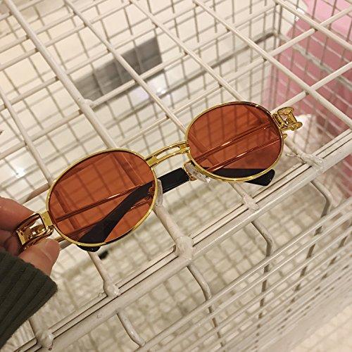 metal Steampunk de gafas film Espejo mujer de sol redondo sol ceniza red VVIIYJ Gold frame literario hombre de de redondas y gafas para oro rojo ZwSqn8xdE