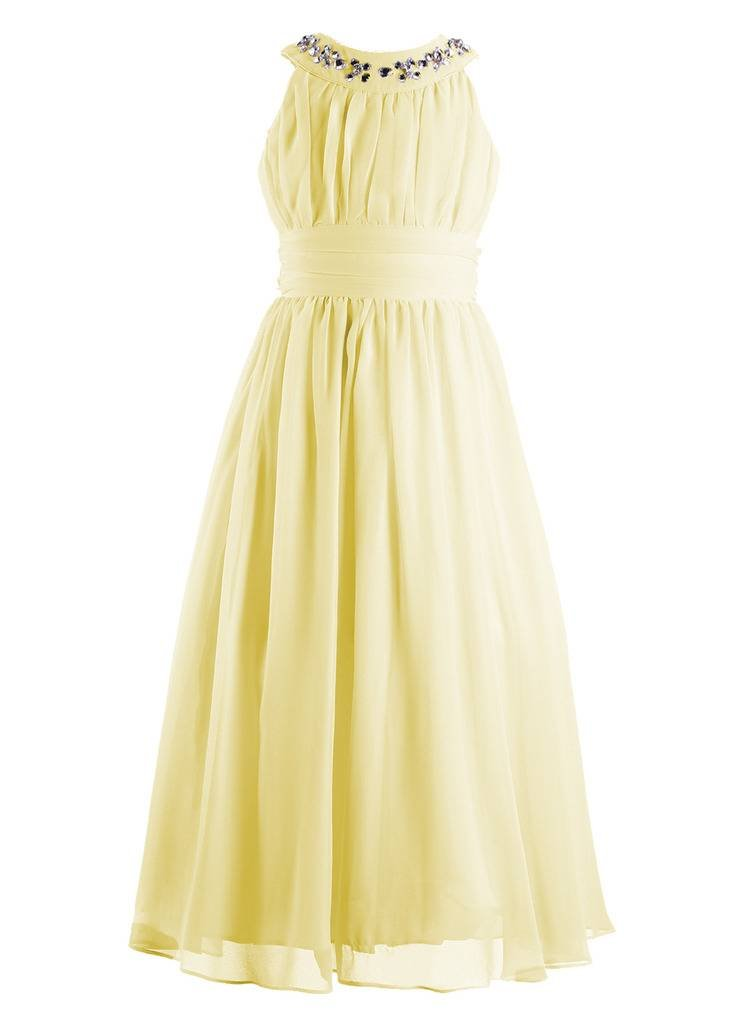 Happy Rose Chiffon Long Junior Bridesmaid Dress Yellow 16 by Happy Rose