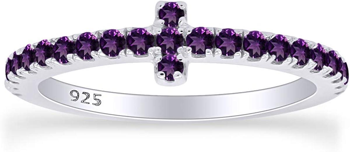 AFFY 14K White Gold Over Sterling Silver Half Eternity Cross Design Wedding Band Ring