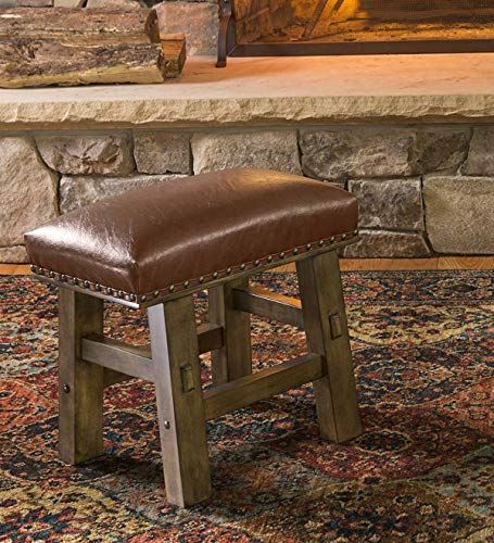 Plow & Hearth Canyon Leather Footstool - Brown (Leather Footstool Small)