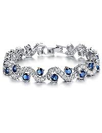 FLORAY Woman's Fashionable Sparkling Zircon Tennis Bracelet. Waves Design. Beautiful Gift for Girls, Free Blue Jewellery Box.