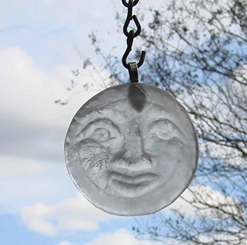 Man in the Moon Up Cycled Glass Bottle Bottom Recycled Ornament Sun Catcher