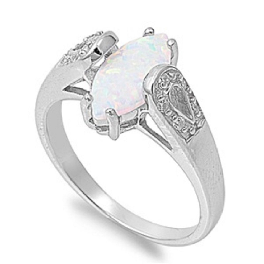 CloseoutWarehouse Marquise Center White Simulated Opal Ring 925 Sterling Silver Size 5