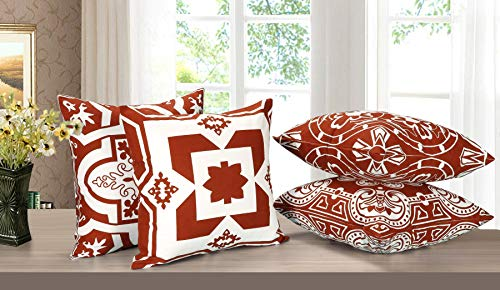 Light & Pro Square Printed Cotton Cushion Cover,Throw Pillow Case, Outdoor Cushion Covers,Slipover Pillowslip for Home, Sofa, Couch,Bed, Chair Back Seat, Set of 4-18x18 inch - Rust - Only Cover - VALUE PACK:Each pillow cover size is 18x18 inch/45x45cm (0.5-1cm deviation). Package contains only Pillow Cover and no inserts included. STYLE : Four different patterns make the entire pillow cover full of fashion and illuminate your home. CONSTRUCTION : The pattern of the cushion covers same on both side. The invisible zipper is easy to placement and removal. - patio, outdoor-throw-pillows, outdoor-decor - 51xm7B3E1uL -