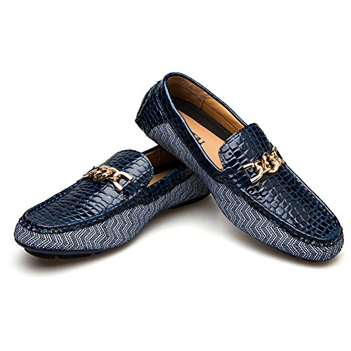 JITAI Men's Driving Penny Loafers Suede Driver Moccasins Slip On Flats Casual Dress Boat Shoes (10.5 (D) M US, Blue)