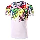 Han Shi Men Shirt Fashion Cotton Casual Short Sleeve Business Tank Top (White, XL)