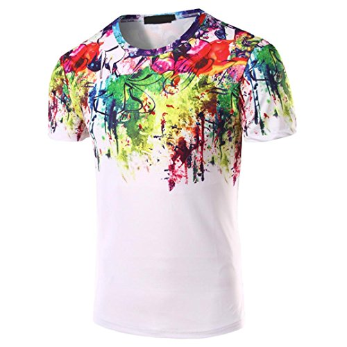Han Shi Men Shirt Fashion Cotton Casual Short Sleeve Business Tank Top (White, XL) by Han ShiTM-Blouse