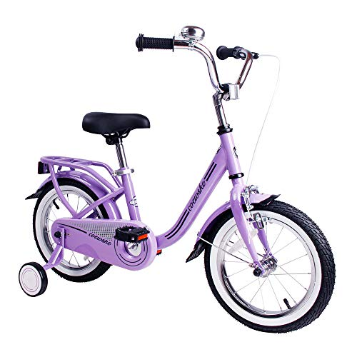 (COEWSKE Kid's Bike Steel Frame Children Bicycle 14-16 Inch with Training Wheel (Purple, 16 Inch))