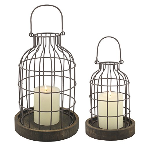 Stonebriar 2PC Wire METAL CLOCHE SET, Set of 2, Brown