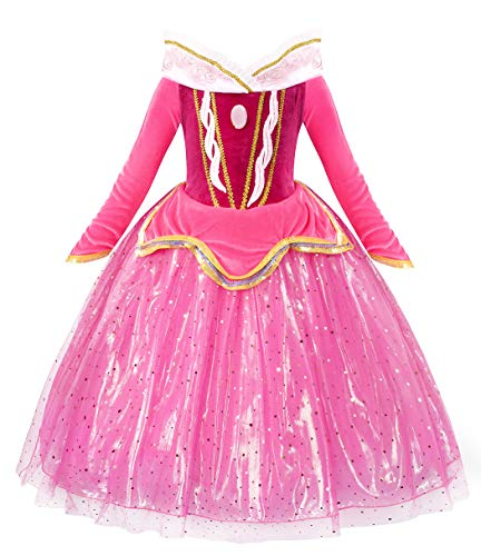 Cotrio Princess Aurora Dress Up Costume for Little Girls Birthday Party Dresses Long Sleeve Halloween Outfits Clothes Size 4T (110, 3-4Years, Pink)