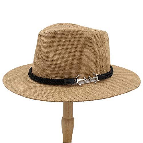 (2018 Men Women British Retro Jazz hat Fashion Panaman Hats Fedora Fedoras New Unisex Cotton Plaid Spring Autumn (Color : Coffee, Size : 56-58cm))