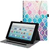 Fintie Case for All-New Amazon Fire HD 10 Tablet (7th Generation, 2017 Release) - [Multi-Angle Viewing] Folio Stand Cover with Pocket Auto Wake/Sleep for Fire HD 10.1 Inch Tablet, Moroccan Love