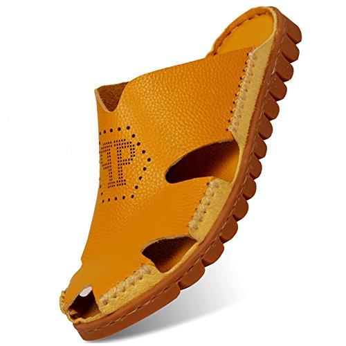 Scarpe Da Spiaggia Estive Bininbox In Pelle Da Uomo Classiche Pantofole Sandali Morbidi Gialli
