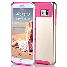 Galaxy S6 Edge Plus Case, Asstar Hybrid Dual Layer Plastic Hard Shell Flexible TPU Protective Shock Absorbing Impact Defender Slim Case Cover Samsung Galaxy S6 Edge Plus (Gold rose)