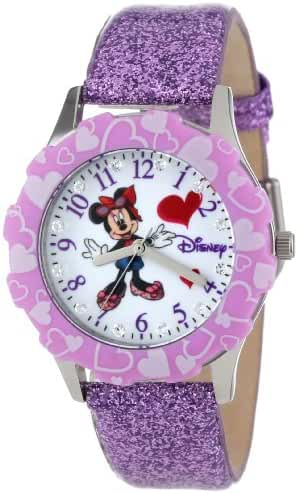 Disney Kids' W000983 Tween Minnie Mouse Stainless Steel Watch With Purple Glitter Band