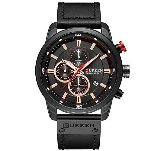 Mens Watches Military Chronograph Fashion Simple Waterproof 30M Quartz Sports Wrist Watch Auto Day Date Calendar Business Watch for Men - Black