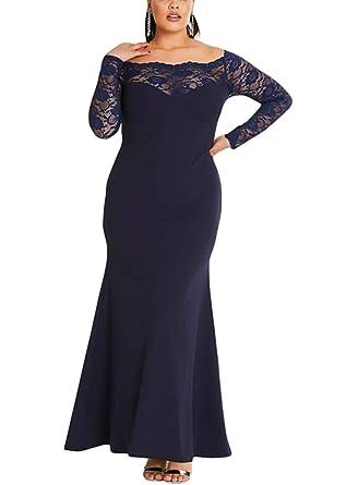 toller Wert 2019 authentisch gut aussehen Schuhe verkaufen ILFtrend Spitze Splicing Große Größen Kleid Partykleider Cocktail Maxikleid  Schwarz