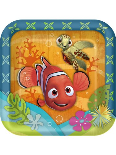 Disney Nemo's Coral Reef Square Dessert Plates (8 count) Party Accessory, Health Care Stuffs