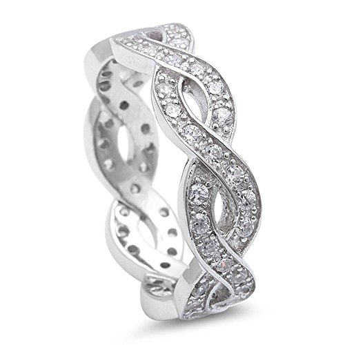 Full Eternity Crisscross Infinity Stackable Band Ring Round Cubic Zirconia 925 Sterling Silver ()