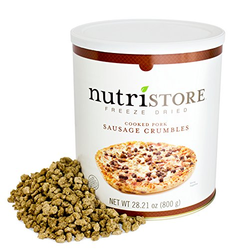 Nutristore Freeze Dried Sausage Crumbles | 20 Large Servings | Premium Quality | USDA Inspected | Amazing Taste | Perfect for Camping | Survival Food