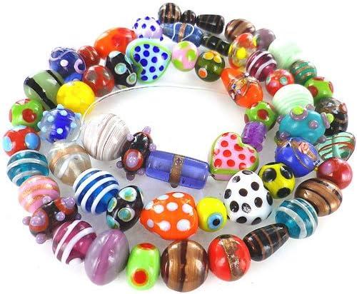 Six Black wTwisted Beige Dots Mini Kalera Beads 11200803 SALE Glass Lampwork Bead Sets