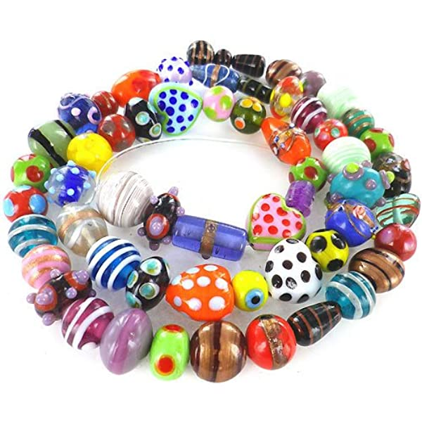 Beading Supplies 1 Dozen Glass Beads Old Store Stock 12 Pink and Green Glass Lampwork Beads