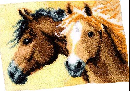 Sunny DIY Crochet Yarn Kits, 18.89X14.56, Needlework Kit DIY Crocheting Rug Yarn Cushion Embroidery Set,Horses 18.89X14.56