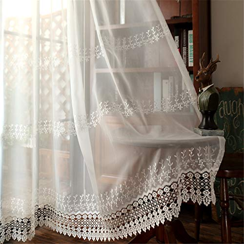 WPKIRA Rod Pocked Sheer Curtain Embroidered Floral Tulle Curtain for Living Room Window Treatment Voile Drape for Wedding Natural Light Flows Sheer Window Curtain 1 Panel W54 x L84 inch (Curtains Embroidered Voile)