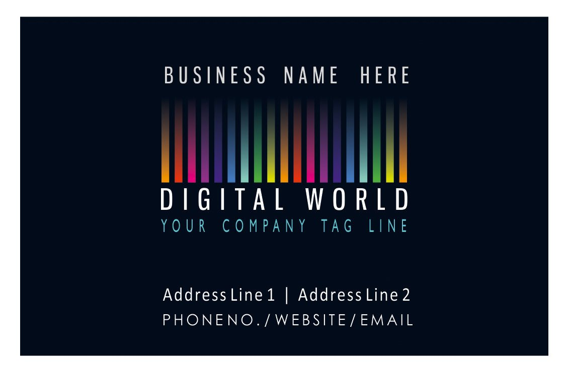 Black Personalised Logo Business Cards Custom Unique Professional Company Visiting Card- Front