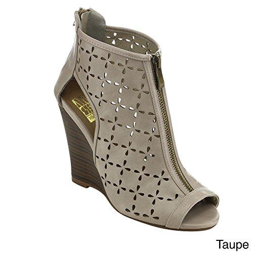 Pare-chocs Piper11 Femmes Peep Toe Dos Zip Découpé Sandales Compensées Taupe