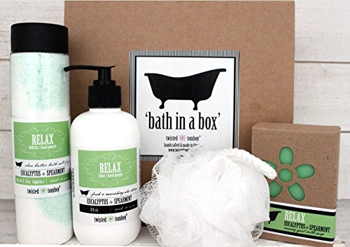 'Bath In A Box' Gift Set Eucalyptus+Spearmint 'Relax' - Shea Butter Bath Salt Fizz (Bath Bomb In A Bottle), Goat Milk Soap & Moisturizing+Nourishing Aloe Lotion & Exfoliating Bath Puff - Eucalyptus Set Gift