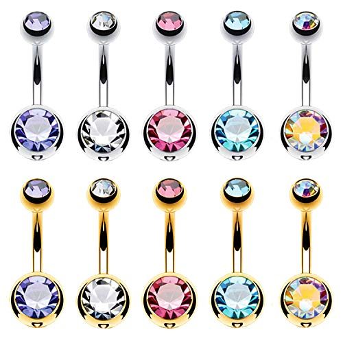 BodyJ4You 10PC Belly Button Ring Double CZ Goldtone Stainless Steel 14G Navel Body Piercing Jewelry