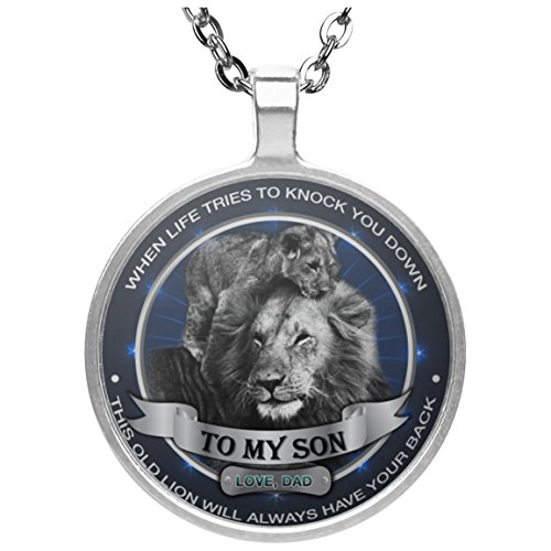 Personalized To My Son Necklace Jewelry - This Old Lion Will Always Have Your Back - Gift For SonOn Wedding Silver Plated Pendant With Gloss - Always Az
