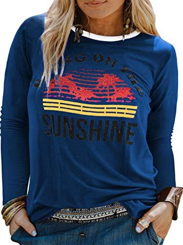 YASAKO Plus Size Women Tops Long Sleeve T Shirts Casual Tee Shirts Cute Graphic Tunic, Dark Blue, 4X-Large