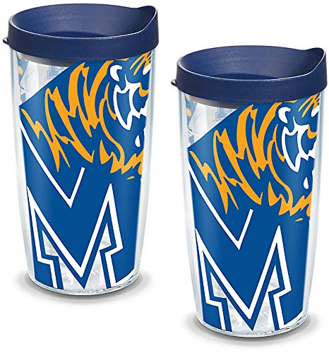 Tervis 1093208 Memphis Tigers Mascot Colossal Tumbler with Wrap and Navy Lid 2 Pack 16oz, Clear ()