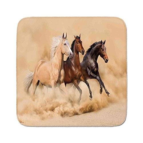 Cozy Seat Protector Pads Cushion Area Rug,Horses,Three Horse Running in Desert Storm Mythical Mystic Messenger Animals Habitat Print,Cream Brown,Easy to Use on Any Surface