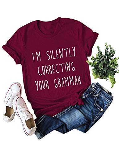 Nlife Women Im Silently Correcting Your Grammar Blouse Crew Neck Solid Color Casual Tops T-Shirt