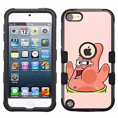 for iPod Touch 5/6, Hard+Rubber Dual Layer Hybrid Heavy-Duty Rugged Armor Cover Case - Sponge Bob Patrick Star #W (Spongebob Ipod Touch 5 Case)