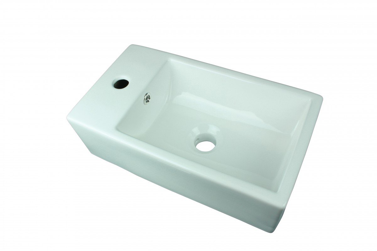 Small Above Counter Vessel Sink White Grade A Vitreous China Rectangle Design Single Faucet Hole And Overflow Scratch And Stain Resistant Renovator s Supply