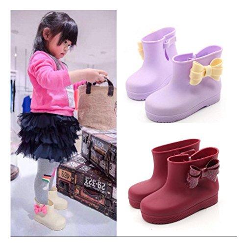 Enfants Bow Bottes de pluie, chaussures de bébé, pour les enfants saphir