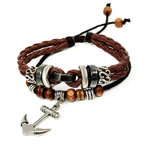 Suyi Multilayer Adjustable Leather Woven Braided Bangle Cross Bracelet Leaf Wrist Cuff Wristband Acoffee