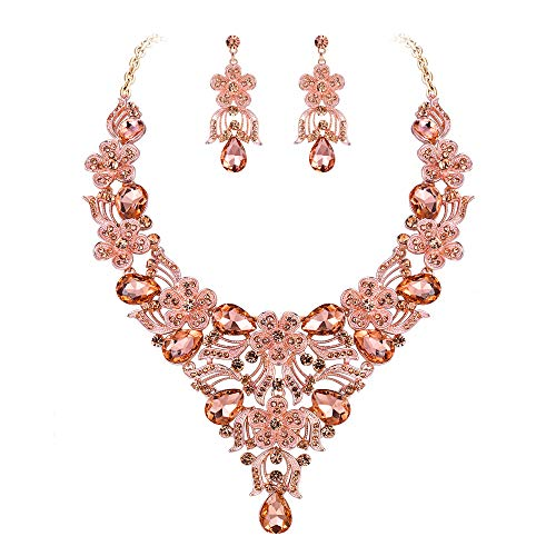EVER FAITH Austrian Crystal Bridal Flower Cluster Drop Necklace Earrings Set Champagne Rose Gold-Tone