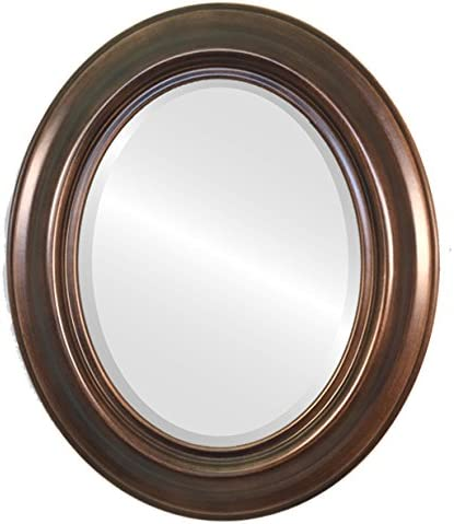 Oval Beveled Wall Mirror for Home Decor – Lancaster Style – Rubbed Bronze Finish 23×29 inches