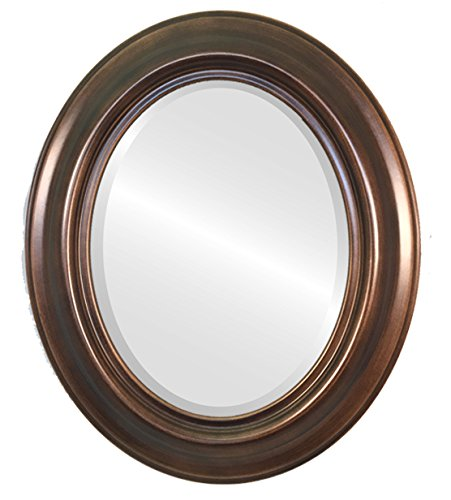 Oval Beveled Mirror in a Lancaster Style - Rubbed Bronze Finish (23x29 inches)