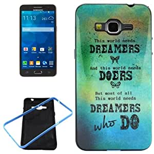 WHO DO Pattern PC Frame + Synthetic Rubber Back Shell Combination Case for Samsung Galaxy Grand Prime / G530