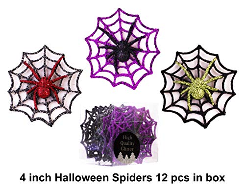 (Christmas Traditions 4 inch Glittered Halloween Decorations Spider Ornaments on Web for Door/Window/Wall, Indoor/Outdoor use Party Decorations Supplies Hanging Ornaments 3 colors asst. (set of)