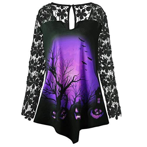 Halloween Lace Insert Shirt Top,Women Pumpkin Design T-Shirt Blouse -
