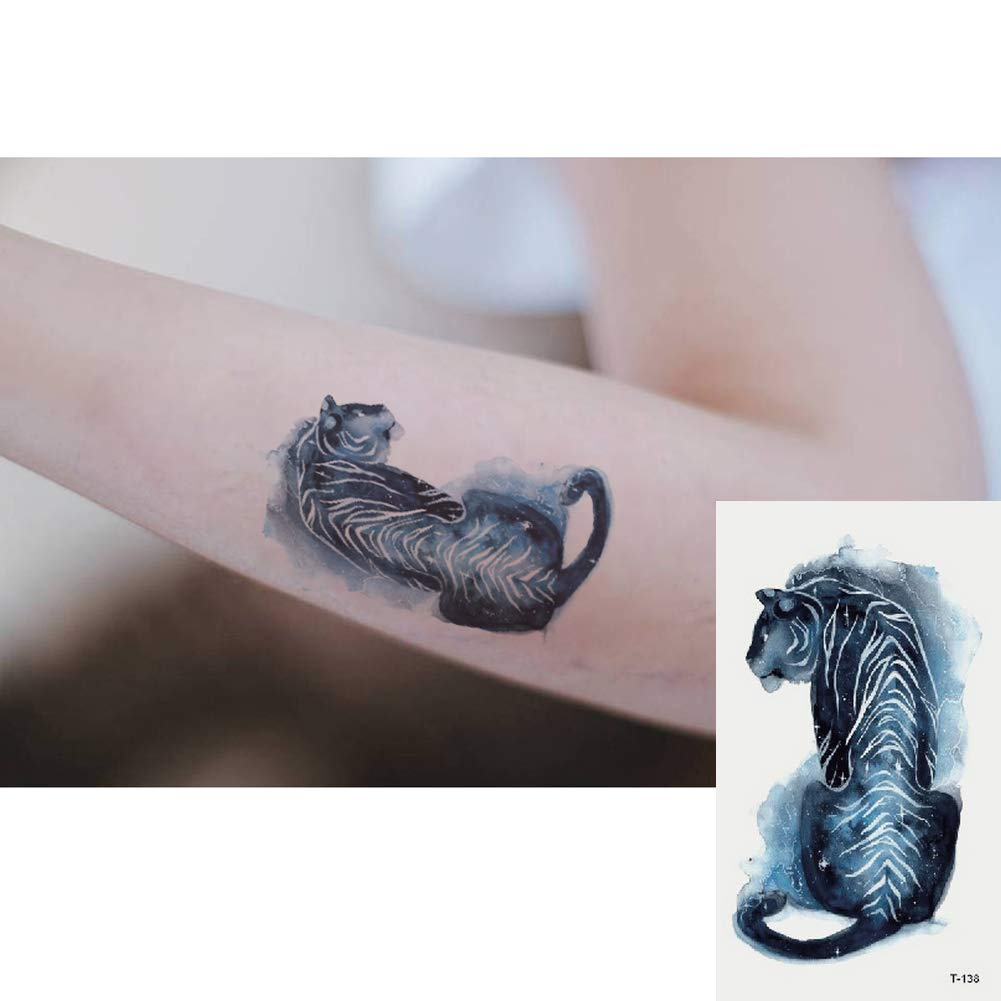 Oottati 2 Hojas Pequeño Lindo Tatuaje Temporal Tattoo Tigre Azul ...