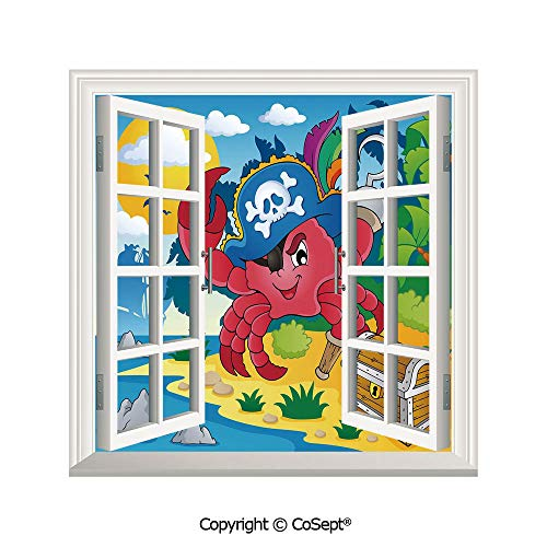 - SCOXIXI Removable Wall Sticker,Cute Cartoon Crab with Eye Patch Pirate Hat Hook Pegleg Deserted Island Coast Jungle Decorative,Window Sticker Can Decorate A Room(25.86x22.63 inch)